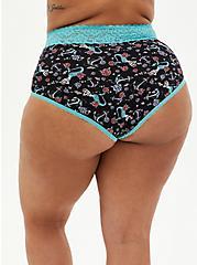 Mermaid Floral Wide Lace Cotton High Waist Panty , VINTAGE NAUTICAL- BLACK, alternate