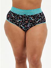 Mermaid Floral Wide Lace Cotton High Waist Panty , VINTAGE NAUTICAL- BLACK, hi-res