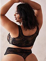 Black Lace Up High Waist Thong Panty , RICH BLACK, alternate