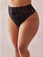 Black Lace Up High Waist Thong Panty , RICH BLACK, hi-res