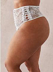White Lace Up High Waist Thong Panty, CLOUD DANCER, alternate