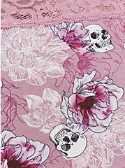 Skull Floral Wide Lace Cotton Cheeky Panty, FLORAL SKULL-PURPLE, alternate