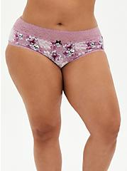 Skull Floral Wide Lace Cotton Cheeky Panty, FLORAL SKULL-PURPLE, hi-res