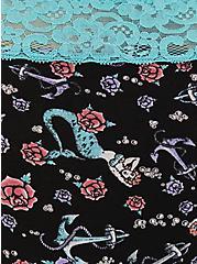 Mermaid Wide Lace Cotton Cheeky Panty, VINTAGE NAUTICAL- BLACK, alternate