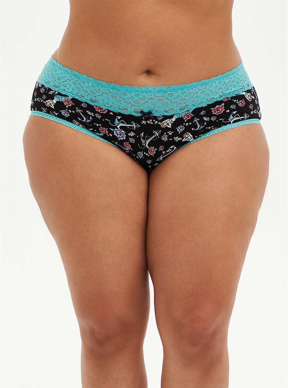 Mermaid Wide Lace Cotton Cheeky Panty, VINTAGE NAUTICAL- BLACK, hi-res