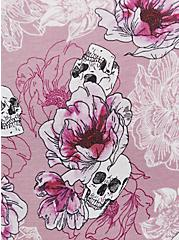 Skull Floral Wide Lace Cotton Hipster Panty , FLORAL SKULL-PURPLE, alternate