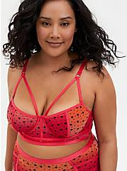 Raspberry Pink Ombre Star Mesh Strappy Underwire Longline Bralette, , hi-res