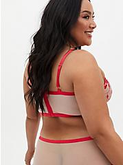 Plus Size Raspberry Pink Embroidered Mesh Underwire Longline Bralette , TEA BERRY, alternate