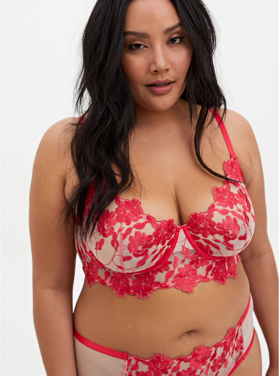 Plus Size Raspberry Pink Embroidered Mesh Underwire Longline Bralette , TEA BERRY, hi-res