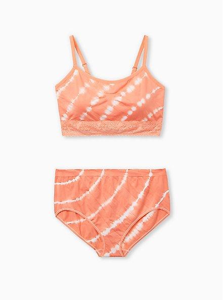 Coral Tie-Dye Lightly Padded Seamless Bralette, , alternate