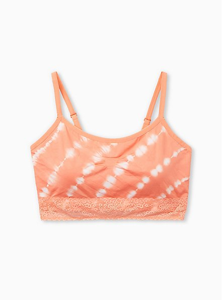 Coral Tie-Dye Lightly Padded Seamless Bralette, , hi-res
