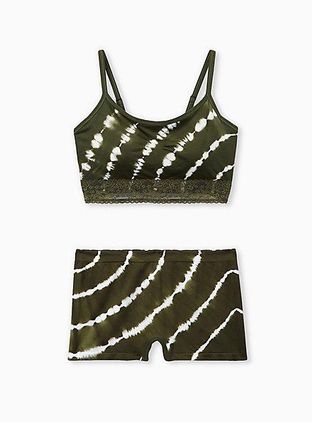 Olive Green Tie-Dye Lightly Padded Seamless Bralette, , alternate