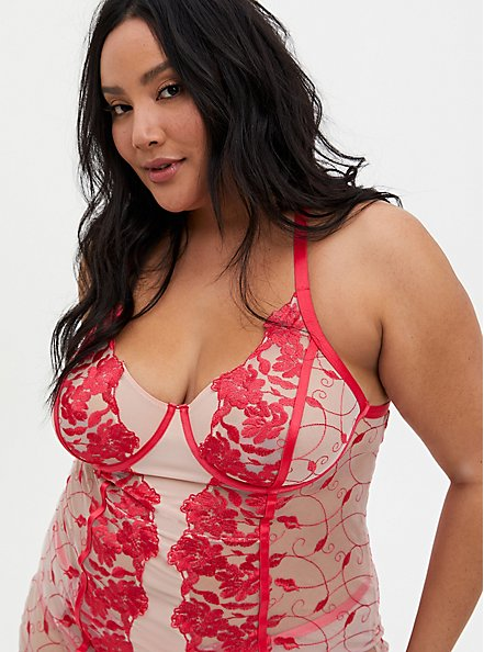 Raspberry Pink Embroidered Mesh Underwire Chemise, TEA BERRY, alternate