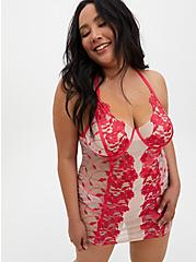 Raspberry Pink Embroidered Mesh Underwire Chemise, TEA BERRY, hi-res