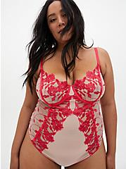 Raspberry Pink Embroidered Mesh Underwire Bodysuit, TEA BERRY, hi-res