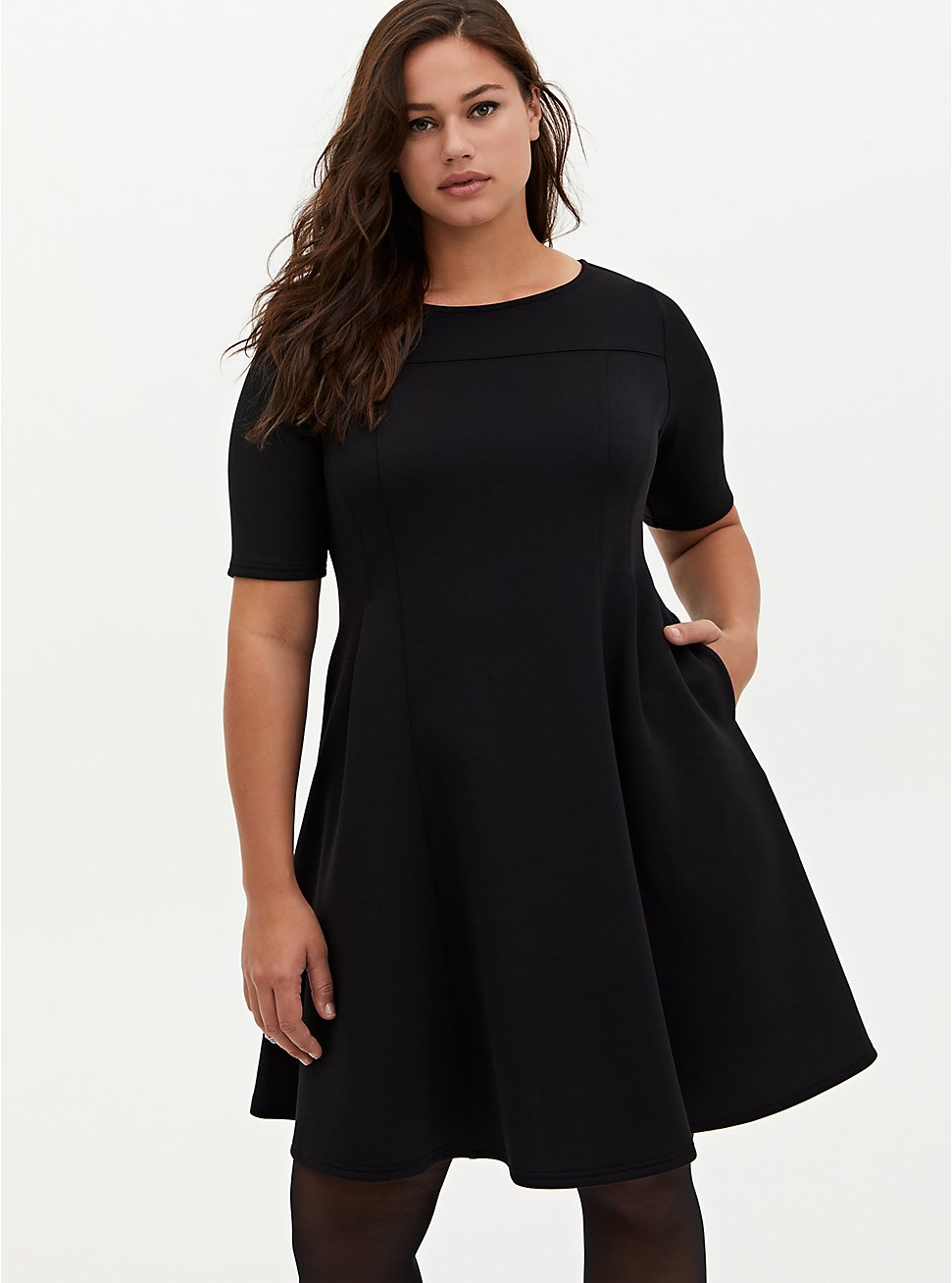 Black Scuba A-Line Midi Dress, DEEP BLACK, hi-res