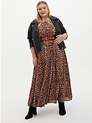 Plus Size Leopard Chiffon Maxi Dress, ANIMAL, alternate