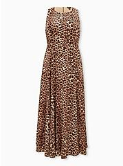 Plus Size Leopard Chiffon Maxi Dress, ANIMAL, hi-res