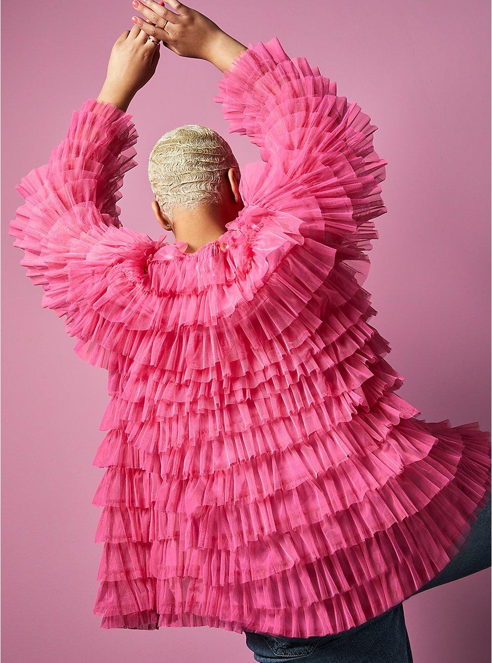 Betsey Johnson Pink Mesh Ruffle Tiered Kimono, AZAELEA PINK, hi-res