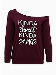 Kinda Sweet Burgundy Purple Off Shoulder Sweatshirt, WINETASTING, hi-res