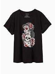 Tattoo Skull Lady Relaxed Fit Crew Tee - Black , DEEP BLACK, hi-res