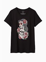Plus Size Tattoo Skull Lady Slim Fit Crew Tee - Black, DEEP BLACK, hi-res