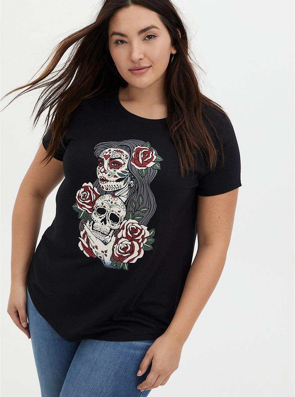 Tattoo Skull Lady Classic Fit Crew Tee - Black, DEEP BLACK, hi-res