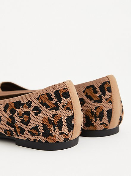 Leopard Stretch Knit Pointed Toe Flat (WW), ANIMAL, alternate