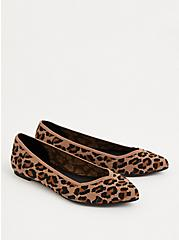 Leopard Stretch Knit Pointed Toe Flat (WW), ANIMAL, alternate