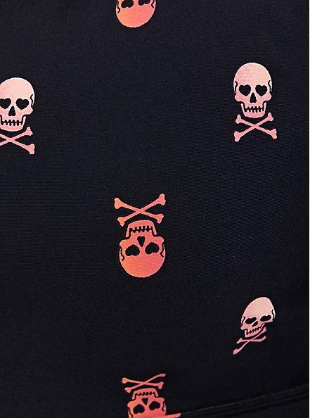 Black Skull Zip Front Wicking Sports Bra, SKULL - BLACK, alternate