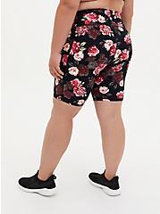 Black Floral Wicking Bike Short, FLORAL - PINK, alternate