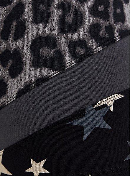 Grey Leopard & Star Hem Bike Shorts, GREY, alternate