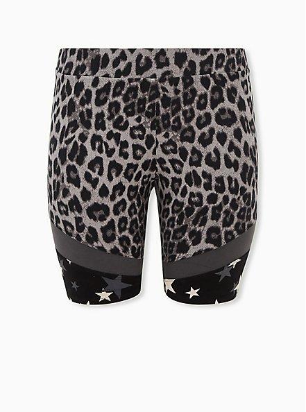 Grey Leopard & Star Hem Bike Shorts, GREY, hi-res