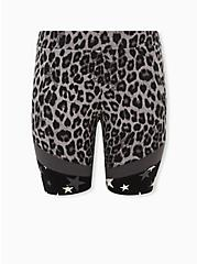 Grey Leopard & Star Hem Bike Shorts, GREY, hi-res