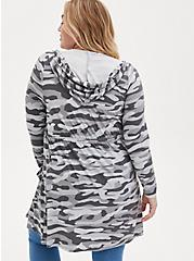 Super Soft Grey Camo Hooded Anorak Cardigan, MULTI, alternate