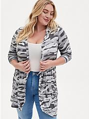 Super Soft Grey Camo Hooded Anorak Cardigan, MULTI, hi-res