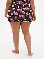Black Floral Stretch Satin Flare Sleep Short, MULTI, alternate