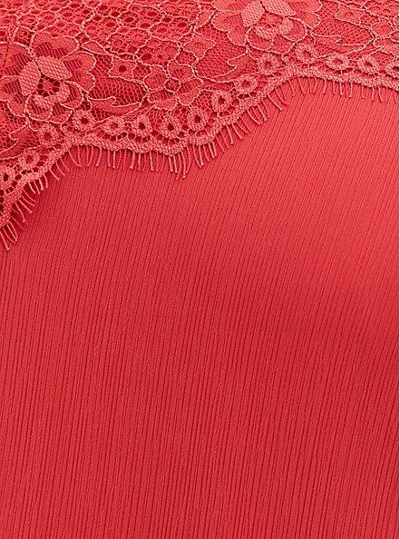 Cranberry Red Crinkle Chiffon Lace Trim Sleep Dress, CRANBERRY, alternate
