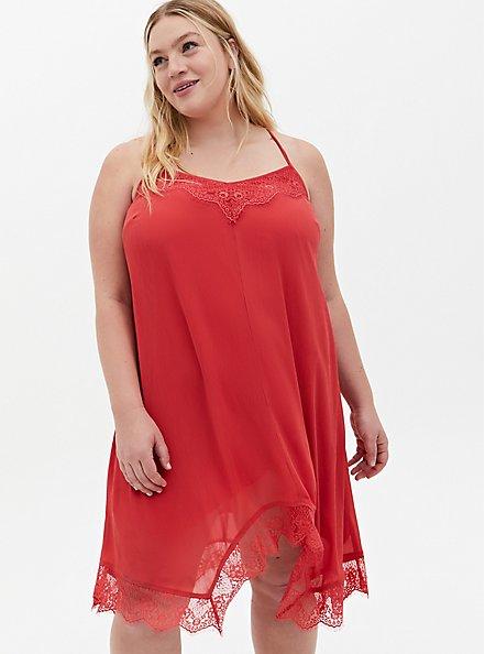 Cranberry Red Crinkle Chiffon Lace Trim Sleep Dress, CRANBERRY, hi-res