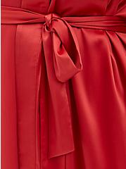 Cranberry Red Stretch Satin Sleep Robe, CRANBERRY, alternate