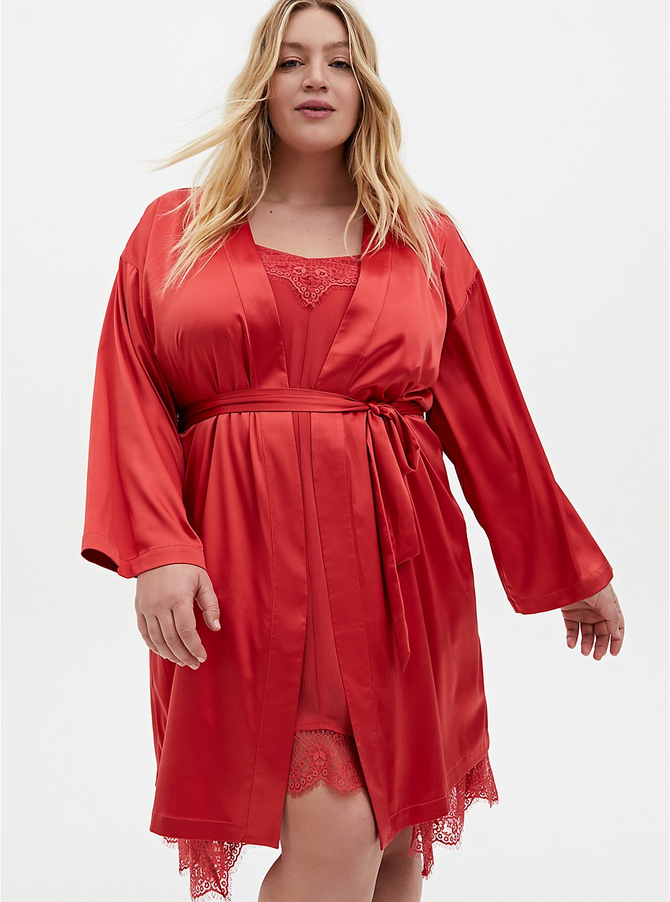 Cranberry Red Stretch Satin Sleep Robe, CRANBERRY, hi-res