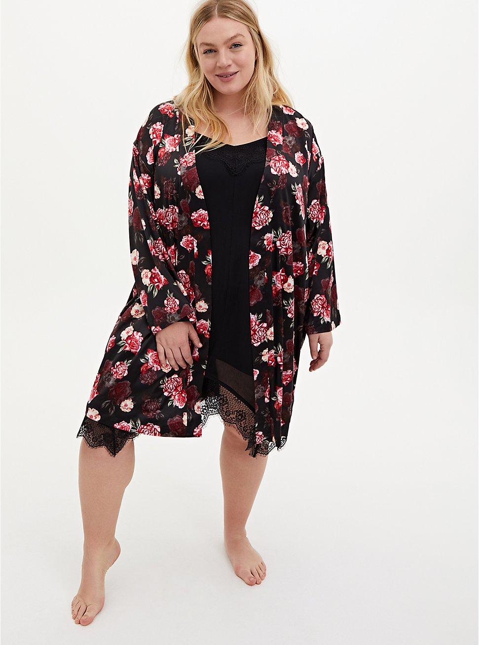 Black Floral Stretch Satin Sleep Robe, MULTI, hi-res