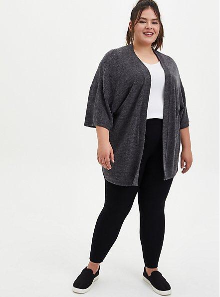 Super Soft Plush Charcoal Grey Sleep Kimono, CHAR HTR, alternate