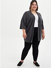 Super Soft Plush Charcoal Grey Sleep Kimono, CHAR HTR, alternate
