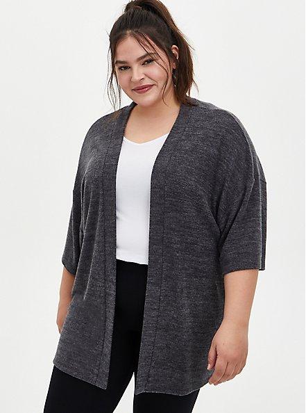 Super Soft Plush Charcoal Grey Sleep Kimono, CHAR HTR, hi-res