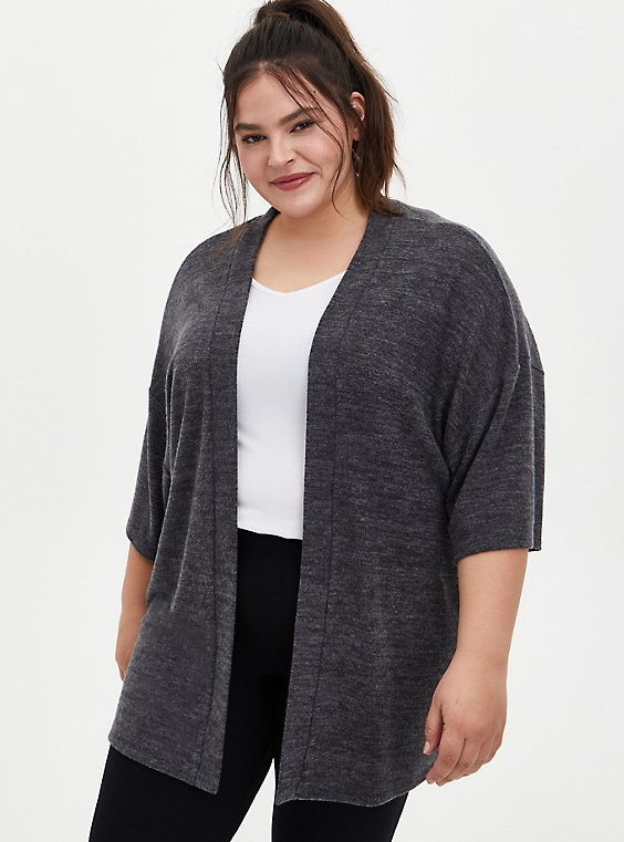 Super Soft Plush Charcoal Grey Sleep Kimono, , hi-res