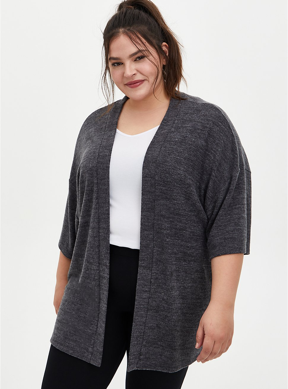 Super Soft Plush Charcoal Grey Sleep Kimono, CHAR HTR, hi-res