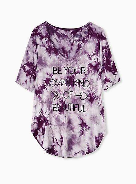 Beautiful Favorite Tunic Tee - Super Soft Tie-Dye Purple , WINETASTING, hi-res
