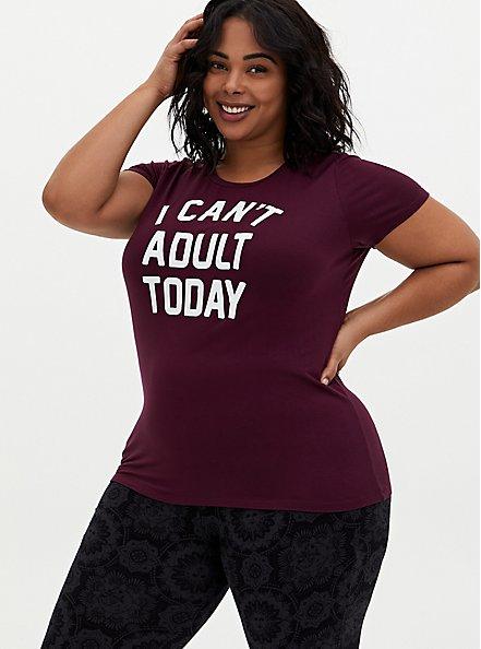 Can't Adult Slim Fit Crew Tee - Super Soft Burgundy Purple, WINETASTING, alternate