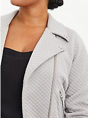 Pebble Grey Quilted Knit Moto Jacket, ASH, alternate